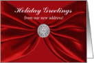 Holiday Greetings from our new address, Fabulous Christmas Red Sash card