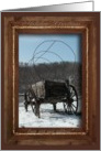 Holiday Greetings from our new address, Covered Wagon in the Snow card