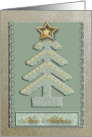 Christmas Tree with Gold Star, New Address card
