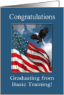 Army Basic Training Congratulations, Eagle Landing with Flag card