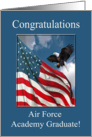 Congratulations Air Force Academy Graduate, Eagle Landing with Flag card