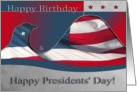 Happy Birthday and Presidents' Day, Flag Eagle card