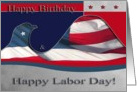 Happy Birthday and Labor Day, Flag Eagle card