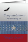 Congratulations on becoming an Eagle Scout, Eagle Flying, Custom Text card