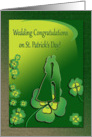 St Patrick's Day Wedding Congratulations, Bride and Groom with Clover card