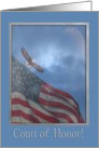 Court of Honor, Eagle Flying with American Flag, Eagle Scout Award card
