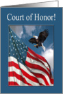 Court of Honor, Eagle Landing with Flag, Eagle Scout Award Invitation card