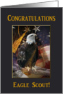 Eagle Scout Congratulations, Proud Eagle with Flag and Tassel card