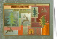 Reindeer and Tree Collage, Merry Christmas from our new home card