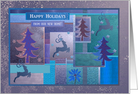 Reindeer and Tree Collage, Purple, Happy Holidays from our new home card