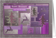 Reindeer and Tree Collage, Pink, Happy Holidays from our new home card