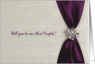 Will you be our Host Couple, Plum Purple Satin Ribbon with Jewel card