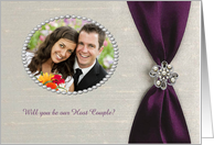 Host Couple, Plum Purple Satin Ribbon with Jewel, Photo Card