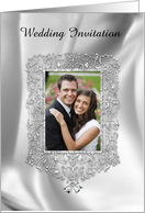 Silver Bells Jeweled Frame Photo Card, Wedding Invitation card