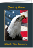 Eagle Scout Court of Honor, Custom Text, Eagle Profile with Flag card