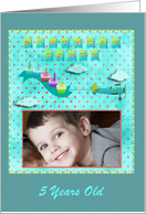 Birthday Party Invitation Flying High with Cupcakes Photo Card, Five card