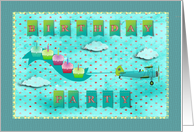 Fifth Birthday Party Invitation Flying High with Cupcakes card