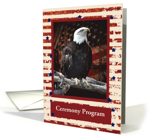 Eagle on Log Scout Court of Honor Ceremony Program, Custom Text card