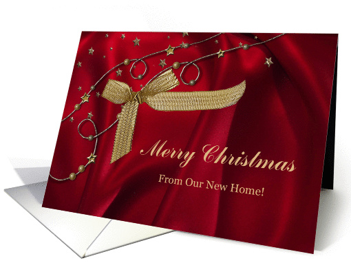 Gold Stars, Beads, & Bow Red Satin, Christmas, New Home card (1306698)