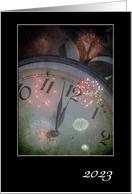 2021 Time Clock with Fireworks New year Greetings Custom Text card