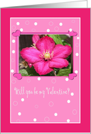 Deep Pink Clematis Flower in Pink Dotted Frame with Hearts card
