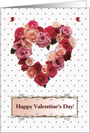 Valentine's Day, Heart Wreath of Roses on Dots with Cupids card