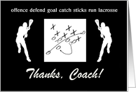 Thank you to Lacosse Coach, Male Players, Custom Text card