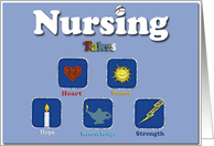 Nursing Takes Heart Humor Hope Knowledge Strength/Happy Nurses Day to Godmother card