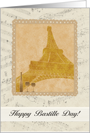Happy Bastille Day, Eiffel Towel, Glasses and Bottle on Music Notes card