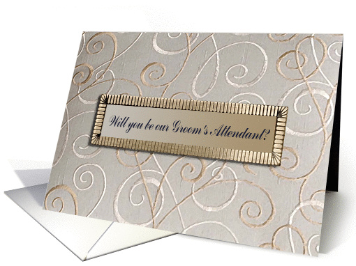 Tan Design, Will you be our Guest Book Attendant?, Invitation card