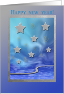 New Year's Eve Party Invitation, Stars on Blue card