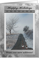 Goosey Christmas Adventure, Happy Holidays, New Address card