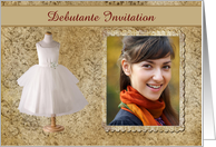 Debutante Invitation, Lovely Dress with Flower Jewel Look, Photo Card