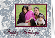 Poinsettia Leave Photo Card, Happy Holidays card