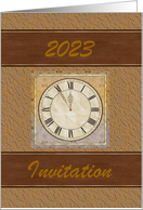 Gold Intertwining 2020 with Clock on Green Color Design, Custom Text card