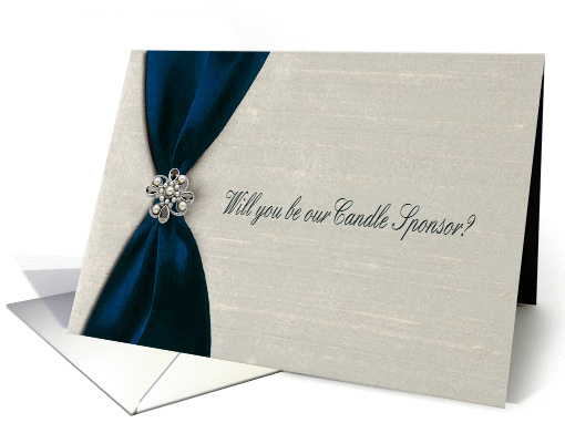 Blue Satin Ribbon with Jewel, Candle Sponsor card (589037)