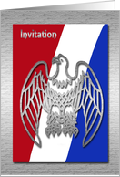 Eagle Scout Award Invitation, Silver Eagle on Red, White and Blue card