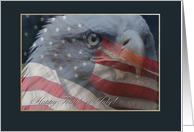 Fourth of July, Eagle Close up with American Flag card