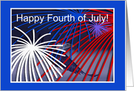 Birthday, Fourth of July, Eagle Flying with Fireworks card