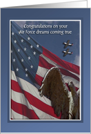 Congratulations, Air Force Commissioning, Stone Eagle, Flag & Planes card