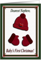 Red Cap and Mittens, Baby's First Christmas, For Nephew card