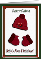 Red Cap and Mittens, Baby's First Christmas, For Godson card