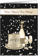 New Year's Eve Party Invitation, Hat, Champagne & Glasses on Stars card