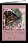 Parabens e muitas felicidades!, Happy Birthday in Portuguese (Brazil), Beautiful Butterfly card