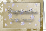 Congratulations on being Honored, Stars on Gold card