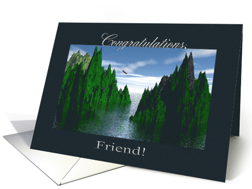 Congratulations Friend, Eagle Scout, Bald Eagle Flying card (816984)