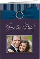 Photo Card, Save the Date, Aqua Ribbon with purple stripes card