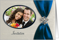 Wedding Photo Card Invitation, Royal Blue Satin Ribbon with Jewel card