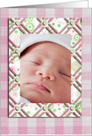 Photo Card, Pink Flowers and Checked Frame, Birth Announcement card