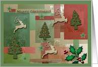 To Mom, Merry Christmas, Reindeer and Trees card